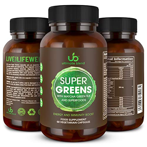 Ultimate Blend | Super Greens with Matcha Green Tea and Superfoods | Plant Based Antioxidant & Immunity Support | Everyday Wellness | Increases Energy, Supports Detox & Weight Loss – 60 Veggie Caps