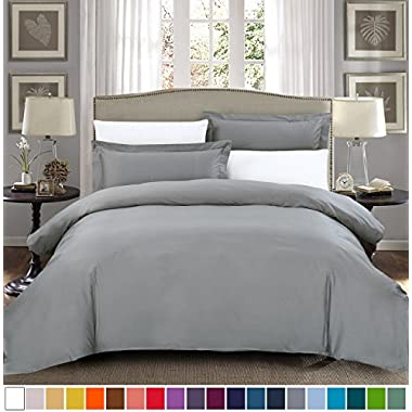 SUSYBAO 100% Natural Cotton 3 Pieces Duvet Cover Set King Size 1 Duvet Cover 2 Pillow Shams Stone Grey Hotel Quality Ultra Soft Breathable Durable Fade Stain Resistant Solid Bedding with Zipper Ties