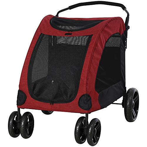 PawHut Dog Stroller 4 Wheels Foldable Pet Trolley Carrier Mesh Windows for...
