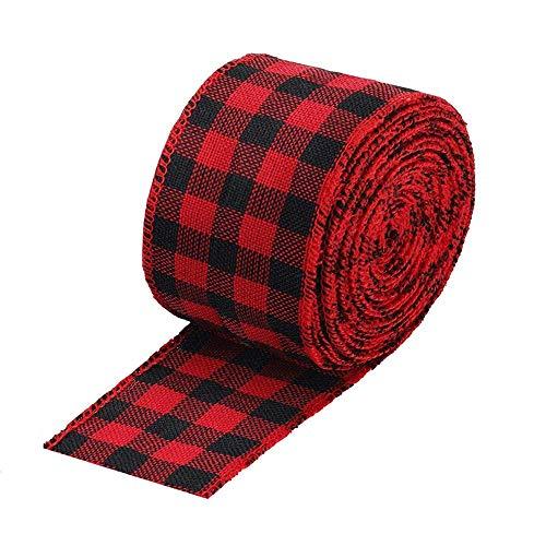 Johiux Rot-Schwarz Kariertes Schleifenband, Weihnachtsband, mit Metallrahmen, Kunsthandwerk, Dekoration, Juteband, Geschenkverpackung (Breite 6.3 cm)