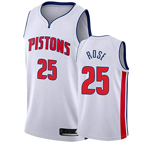 XIAOHAI Men's NBA Sports Basketball Jersey Detroit Pistons # 25 Derrick Rose Resistente al Desgaste Resistente a la Malla Bordado Baloncesto Swingman Jerseys Camiseta Deportiva Jerseys,XL
