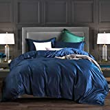 L LOVSOUL Duvet Cover Queen,3 Piece Bedding Sets 100% Egyptian Cotton 1200 Thread Count Comforter Cover and 2 Pillow Cases,Navy Blue-90x90Inches