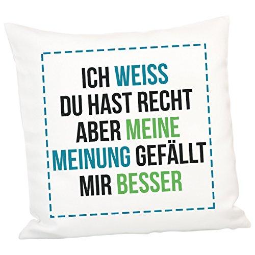 Kissen - Meine Meinung - originelles Zierkissen Sofakissen witziges Kuschelkissen Kissen mit Spruch