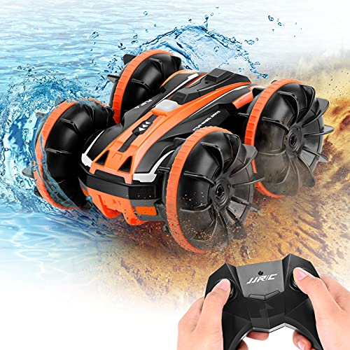 Amphibious RC Car Remote Control Boat for Kids, 4WD 2.4Ghz 2 in 1 RC Stunt Car with 360° Flips, Double Sided Rotating RC Cars Toy for 5-12 Year Old Boys & Girls