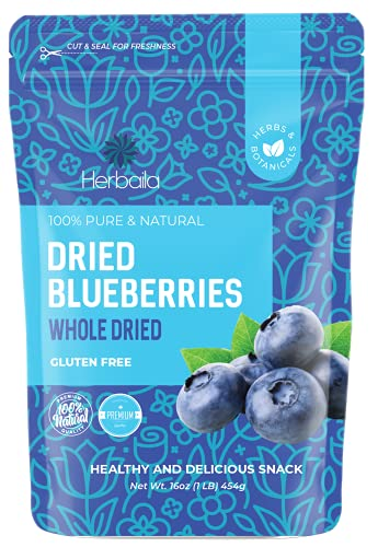 Dried Blueberries No Sugar Added, 16 oz. Whole Dry Blue Berries, Bulk Dried Blueberries Unsweetened, Dehydrated Blueberries, Dried Unsweetened Blueberries, All Natural, Non-GMO, 1 Pound.