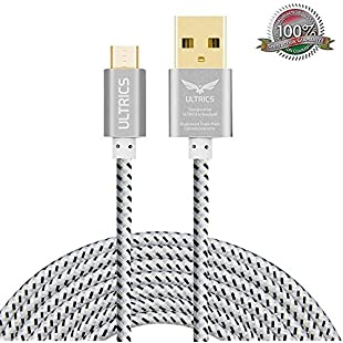Micro USB Cable ULTRICS® Nylon Braided Charger Cable 10ft / 3M Tangle Free Sync Charge USB Android Charger Lead for Samsung Galaxy, Sony, Nokia, Microsoft, Motorola, Nexus, Huawei, LG, Xiaomi, OPPO - Lifetime Warranty, Money back Guarantee - White:Greatestmixtapes