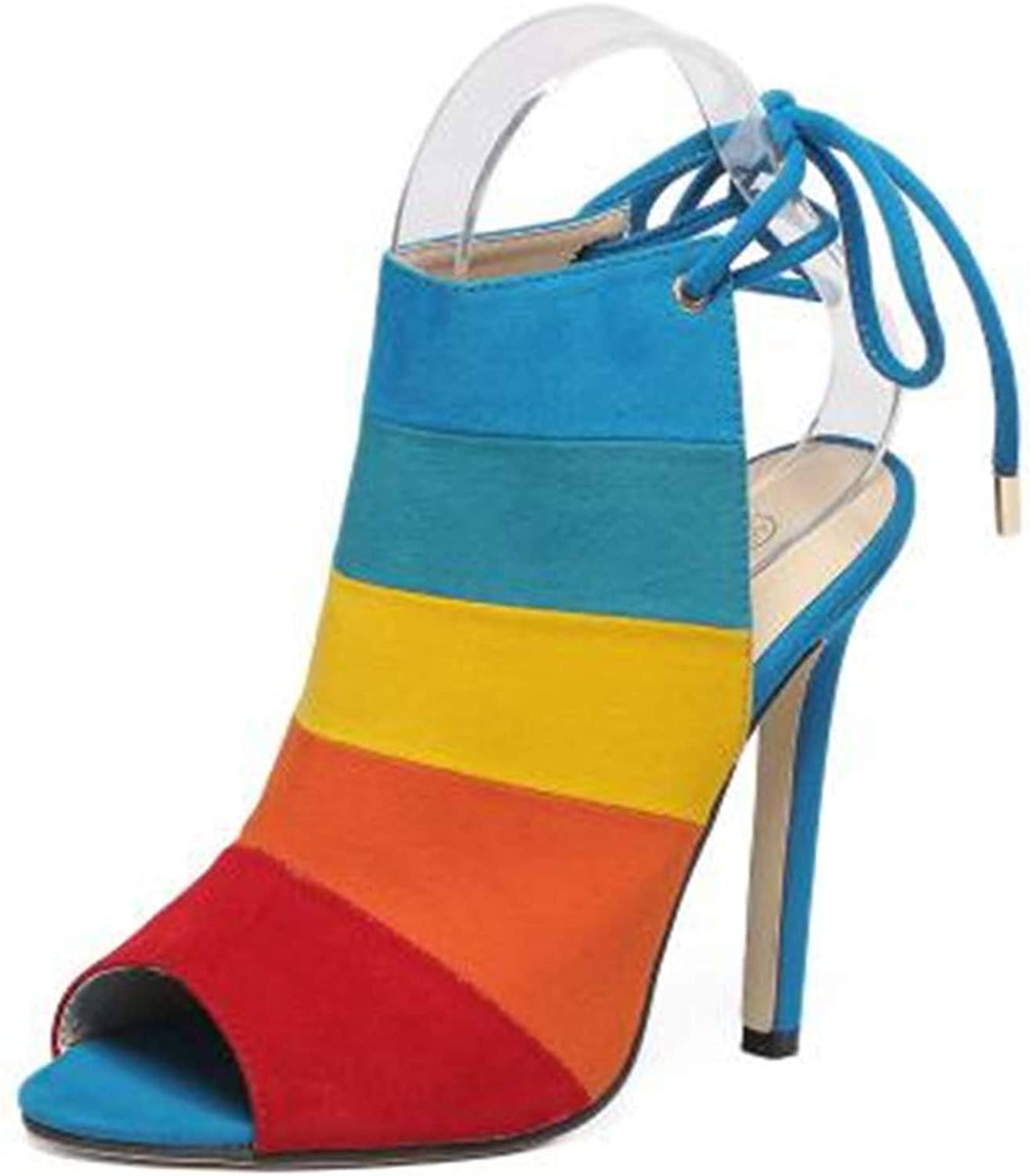 SamaTung European High-Heeled shoes Rainbow Coloured Fine-Heeled Fishmouth Sandals Coloured