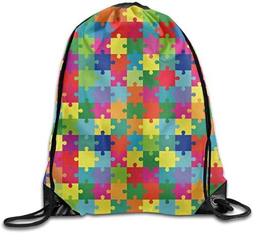 HRTSHRTE Premium Drawstring Bag, Ector Illustration of Colorful Puzzle, Separate Pieces Unisex Home Rucksack Shoulder Bag Travel Drawstring Backpack Bag
