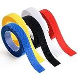 SUN MIRAIマジックテープ 結束バンド コード まとめる ケーブル 配線カバー クリップ インシュロック タイラップ ベルクロ マジックバンド ネームタグ カラーセット 3m×5本