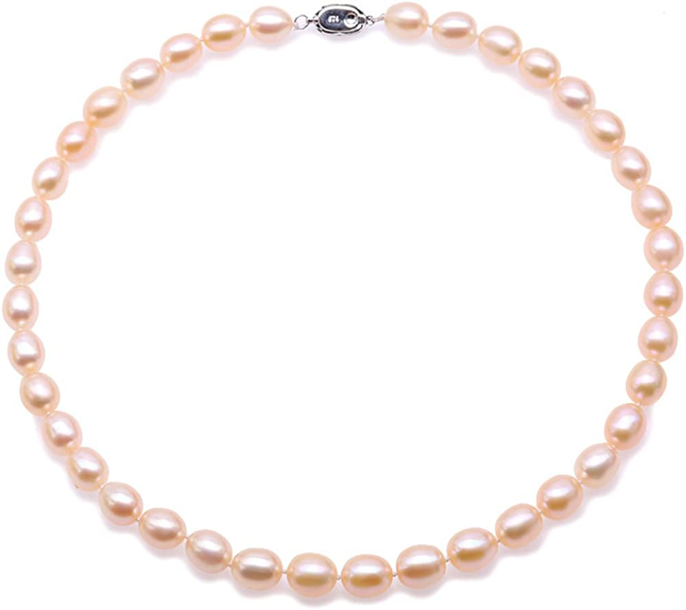 JYX Pearl Necklace Gorgeous Genuine AA+ 9-10mm Oval Pink Freshwater Cultured Pearl Necklace in 18