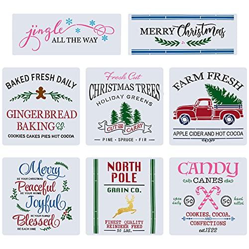 8 Piezas Plantillas de Navidad Plantillas de plástico reutilizables para manualidades Plantillas de palabras navideñas Bastón de caramelo Árbol de Navidad Reno Plantillas de Dibujo de Pintura Navidad