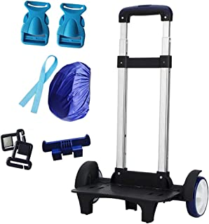 2 Wheels Backpacks Trolley Cart - Compact Folding Travel Business Luggage Student Bag Rolling Hand Truck Black