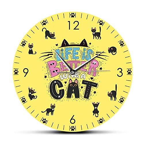 mazhant La Vida es Mejor con un Gato Cita Divertida Reloj de Pared silencioso sin tictac Reloj de Dibujos Animados con Estampado de Gato y Pata para habitación de niños-30X30cm