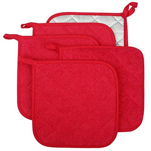 Lifaith Set di 5 presine da Cucina Completamente in Cotone e in Tessuto di Spugna termoresistente, Ideali per Uso Quotidiano in Cucina e con fornelli e Forno Rosso