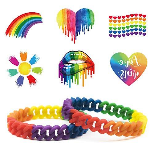 Bibivisa 2 Stücke LGBT Armband & 6 Stücke Regenbogen Temporäre Tattoos - Silikon Armreifen Schmuck #Gay Pride Geschenk für Männer Frauen