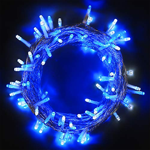 woohaha String Lights Fairy Lights, Safe Voltage 10m (33feet) 100 Led 8 Modes with Memory 31V UL Certified Power Supply for Garden, Party, Wedding, Christmas (100LED, Blue White)