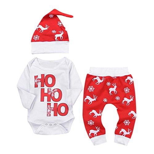FEIXIANG 3PCs Bambini Pagliaccetto + cap + Pantaloni Natale Neonato Bambino Neonato Neonato Cervo Set Abiti,Miscela del Cotone,O-Collo (12 Mesi, Rosso)