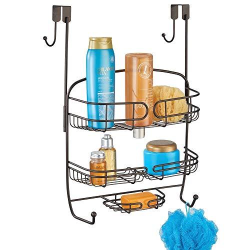 mDesign Duschablage zum Hängen über die Duschtür – praktisches Duschregal ohne Bohren– Duschkorb zum Hängen aus Metall – bronzefarben