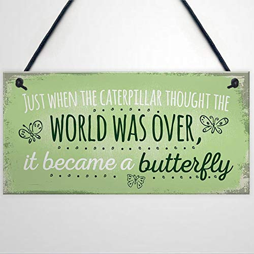 BYRON HOYLE Became A Butterfly Quote Hanging Summer House Sign Garden Shed Mum Nan Funny Wooden sign Wood Plaque Wall Art wall hanger Home Decor