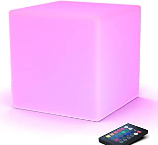 LOFTEK LED Light Cube: 16-inch Light Cube Seats, Color Changing Kid's Stool, 4400mAh Rechargeable Bar Stools, Unique Vanity Stool, UL Listed Adapter, Perfect for Sensory Education, Party Decoration