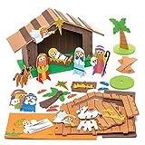 Baker Ross Weihnachtskrippe aus Moosgummi Kit - Kreative Weihnachtskunst und Bastelbedarf für Kinder zum Basteln und Dekorieren (2er-Pack)