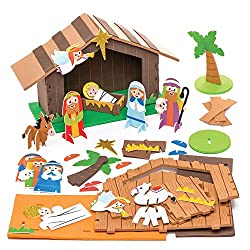 foam nativity stable craft kit for kids - enough to make two nativity scenes