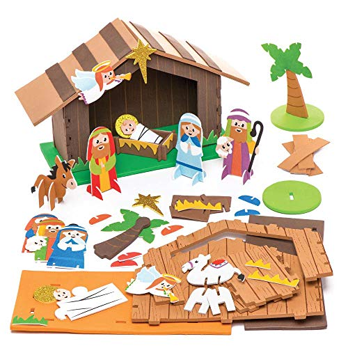Baker Ross Kits de Espuma Natividad Estable, Suministros Creativos de Arte y Manualidades Navideños para que los Niños Hagan y Decoren, Paquete de 2