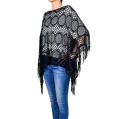 White Deer Women's Casual Crochet Net Lace Poncho Long Fringe (Black)