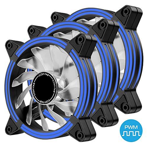 EZDIY-FAB 120mm PWM Lüfter mit Blau LED, Dual-Frame LED Gehäuselüfter für PC-Gehäuse, hohe Geräuschentwicklung, CPU-Kühler,4-Pin-3-Pack