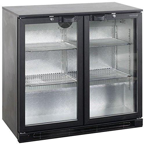 Tefcold BA25 Sortiment Bar und Zähler Display Kühler gekühlt Display mit schwarz Schiebetür 870 (H) x900 (W) x515 (D) 191 Liter 2 Regale -2 Jahr Teile Garantie inklusive