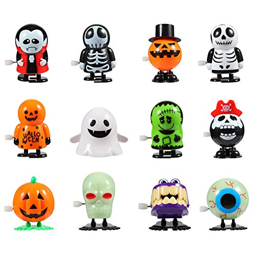 Twister.CK Halloween Pumpkin Ghost Skull Wind Up Toys, Divertidos Juguetes de Salto para la Fiesta de Halloween Goody Bag Filler (Paquete de 12)