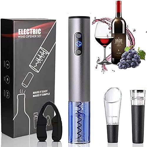 Abrebotellas Eléctrico, Sacacorchos Electrico Automatico Abrelatas de Vino Abridor con Cortador de Papel Vertedor Tapón de Vino Vacío Regalos para los Amantes del Vino