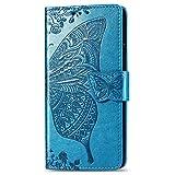 JIUNINE Hülle für Oppo A72 / A52, Handyhülle Leder Flip Hülle mit Schmetterling Muster [Kartenfach] [Magnetverschluss] Schutzhülle Tasche Cover Lederhülle für Oppo A72 / A52, Blau