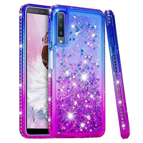 HMTECH Custodia Cover Galaxy A7 2018 Glitter Gardient Clear Liquid Flowing TPU Morbido Silicone Bling Diamond Cover Protettiva Antiurto Custodia per Samsung Galaxy A7 2018,Liquid:Blue Purple