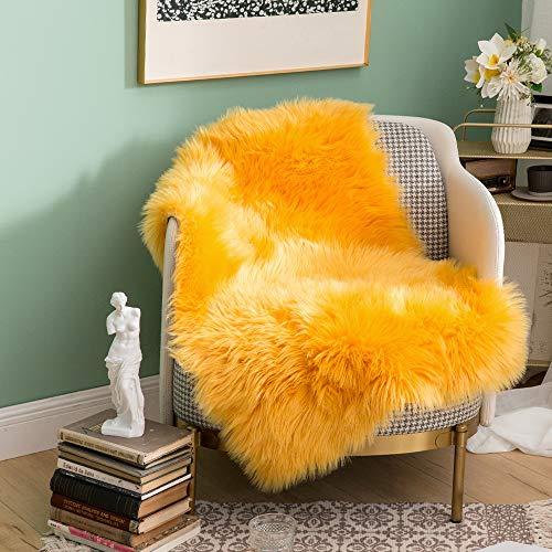 MIULEE Luxury Super Soft Fluffy Area Rug Faux Fur Rectangle Rug Decorative Plush Shaggy Carpet for Bedside Sofa Floor Nursery Fall Decor 2 x 3 Feet, Yellow