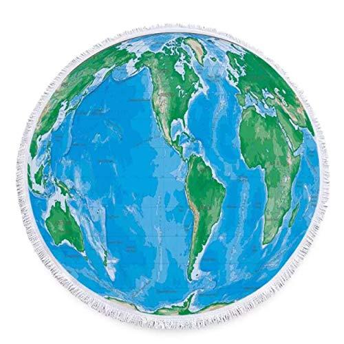 GermYan Mapa del Mundo Imprimir Toalla de Playa Redonda Microfibra Verano Natación Mantón Yoga Picnic Estera de Viaje Borla