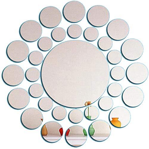 31 Pcs DIY Miroir Autocollant Mural amovible ronde acrylique autocollants muraux miroir Dots auto-adhésif autocollant Cercle d'art fenêtre Stickers muraux Cuisine Décoration