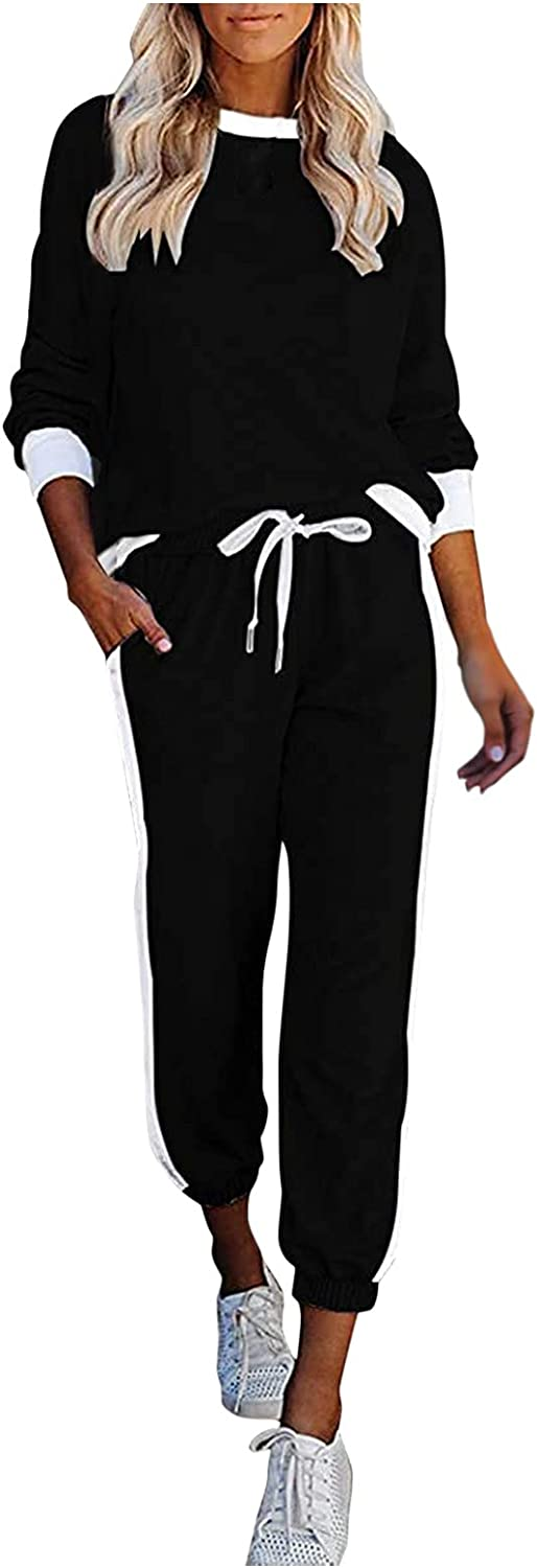 2 Piece Outfits Sets for Women Casual Long Sleeve Hoodies Tops and Pants Sweatshirts Pullover Sports Suit with Pockets