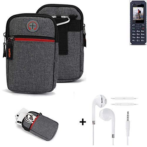 K-S-Trade® Gürtel-Tasche + Kopfhörer Für -bea-fon AL250- Handy-Tasche Schutz-hülle Grau Zusatzfächer 1x