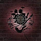 wtnhz LED-Chitarra e Batteria Kit Orologio da Parete Chitarrista Musica Disco in Vinile Strumento Musicale Rock Chitarra Wall Art Rock Regalo