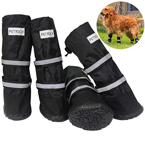 URBEST Dog Shoes, Waterproof Dog Boots, Warm Lining Nonslip Rubber Sole for Snow Winter (S, Black)