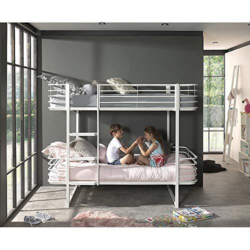 Lomadox Kinderbett weiß Etagenbett Metall Doppelstockbett - B/H/T: 205/166/99cm Hochbett