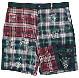 Men's Green Tartan Plaid Patchwork Graphic Casual Shorts (38)
