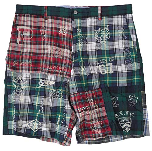 Men's Green Tartan Plaid Patchwork Graphic Casual Shorts (36)