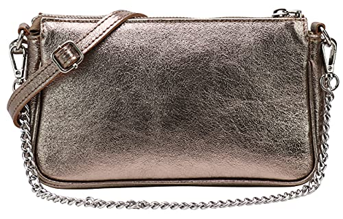 SH Leder Echtleder Schultertasche Umhängetasche Handtaschen Clutch kleine Tasche Abendtasche 23x13cm Jennie G323 (Bronze Metallic)