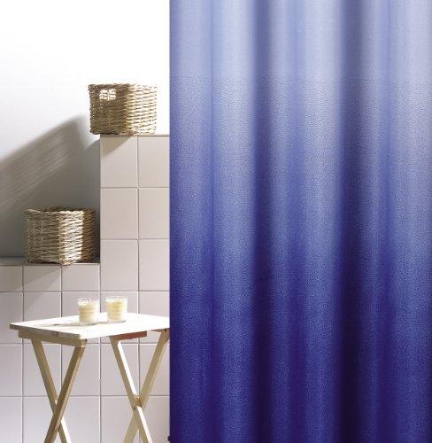 DUSCHVORHANG MAGIC BLAU TEXTIL Farbverlauf von hell- in dunkelblau 180cm breit x 200cm lang ohne Ringe shower curtain