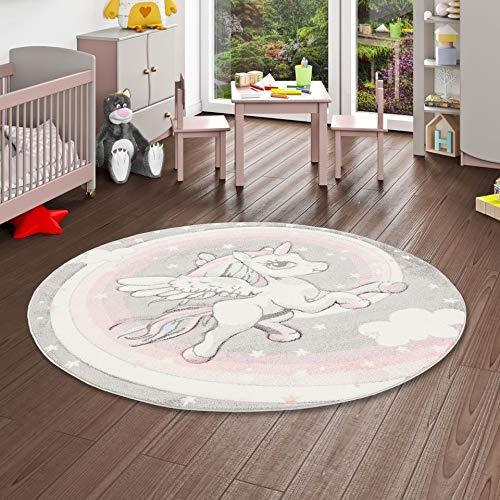 Pergamon Maui Kids - Alfombra Infantil Redonda - Motivo Unicornio - Rosa Gris Pastel 3 tamaños