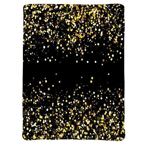 ARRISUM Gold Glitter Starry Sky Flannel Fleece Blanket, Soft Micro-Velvet Blanket, Soft Hypoallergenic Plush Bed Sofa Living Room 50X40 inch