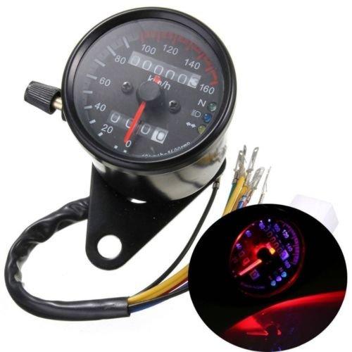 Universal 12 V Moto 13000rmp KM/H Compteur kilométrique Compteur de vitesse Tachymètre Odomètre avec LED lumière Fond Noir