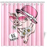 Auld-Shop Bad Vorhang Schwein Rosa Sonnenbrille Damen Hut Kamille Wasserdicht Duschvorhang, 72 X 72 Zoll Duschvorhang Haken Enthalten